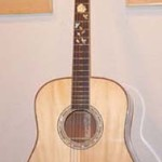 Custom Made Hand Crafted Acoustic Guitar With Natural Finish And Pearl Inlay JPGuitars.com