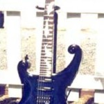 Custom Made Hand Crafted Hand Carved Electric Guitar With Scroll Work Blue Paint JPGuitars.com