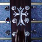 JP Guitars Custom Guitar Pearl Inlays Abalone Inlays Wood Inlays Artistic Cross Pearl Inlay On Headstock Acoustic Guitar2