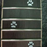 JP Guitars Custom Guitar Pearl Inlays Abalone Inlays Wood Inlays Guitar Fretboard Paw Print Inlay